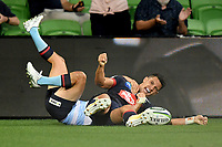 19th March 2021; Melbourne Rectangular Stadium, Melbourne, Victoria, Australia; Australian Super Rugby, Melbourne Rebels versus New South Wales Waratahs; Matt To'omua of the Rebels scores a try