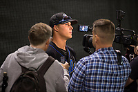 Sandra Day O'Connor Eagles third baseman Nolan Gorman (9) talks to the media after a game against Mountain Ridge High School at Brazell Field at GCU on April 19, 2018 in Glendale, Arizona. Mountain Ridge defeated Sandra Day O'Connor 2-1. (Zachary Lucy/Four Seam Images)