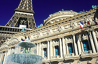 Las Vegas, Nevada, Paris Las Vegas Resort & Casino, NV, Replica of the Eiffel Tower and Academie Nationale de Musique at Paris Casino & Resort on The Strip in Las Vegas, the Entertainment Capital of the World.