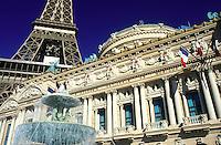 Las Vegas, Nevada, Paris Las Vegas Resort & Casino, NV, Replica of the Eiffel Tower and Academie Nationale de Musique at Paris Casino & Resort on The Strip in Las Vegas, the Entertainment Capital of the World.