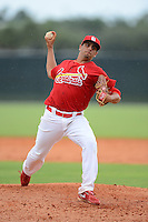 GCL Cardinals pitcher Steven Farinaro (43) during the second game of a double header against the GCL Mets on July 17, 2013 at Roger Dean Complex in Jupiter, Florida.  GCL Cardinals defeated the GCL Mets 4-2.  (Mike Janes/Four Seam Images)