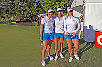 6th September 2021: Toledo, Ohio, USA;   Georgia Hall, Mel Reid and Charley Hull of Team Europe celebrate after Europe wins the Solheim Cup on September 6, 2021 at Inverness Club in Toledo, Ohio.