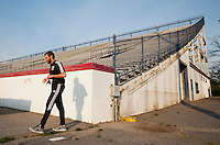 D.C. United head coach Ben Olsen walks out to the field before a third round match in the US Open Cup at City Stadium in Richmond, VA.  D.C. United advanced on penalty kicks after tying the Richmond Kickers, 0-0.