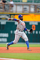 St. Lucie Mets outfielder Aderlin Rodriguez #16 during a game against the Bradenton Marauders on April 12, 2013 at McKechnie Field in Bradenton, Florida.  St. Lucie defeated Bradenton 6-5 in 12 innings.  (Mike Janes/Four Seam Images)