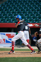 Alexander Ramirez (9) during the Dominican Prospect League Elite Underclass International Series, powered by Baseball Factory, on August 1, 2017 at Silver Cross Field in Joliet, Illinois.  (Mike Janes/Four Seam Images)