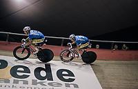 Kenny De Ketele (BEL/SportVlaanderen-Baloise) & Moreno De Pauw (BEL/SportVlaanderen-Baloise) going for the (Kuipke fastest lap) track record<br /> <br /> Ghent 6day<br /> Belgium 2017