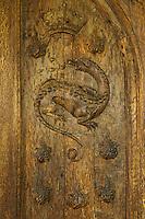 Europe/France/Centre/41/Loir-et-Cher/Sologne/ Chambord: Château de Chambord - Oratoire de François I - Détail de la porte du XVI ème:  La Salamandre // France, Loir et Cher, Loire Valley listed as World Heritage by UNESCO, Chateau de Chambord  - Door with  Salamander