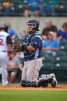 Corpus Christi Hooks catcher Roberto Pena (10) during a game against the Arkansas Travelers on May 29, 2015 at Dickey-Stephens Park in Little Rock, Arkansas.  Corpus Christi defeated Arkansas 4-0 in a rain shortened game.  (Mike Janes/Four Seam Images)