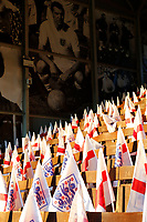 England flags seen during the Women's international friendly match between England Women and Australia at Craven Cottage, London, England on 9 October 2018. Photo by Carlton Myrie / PRiME Media Images.