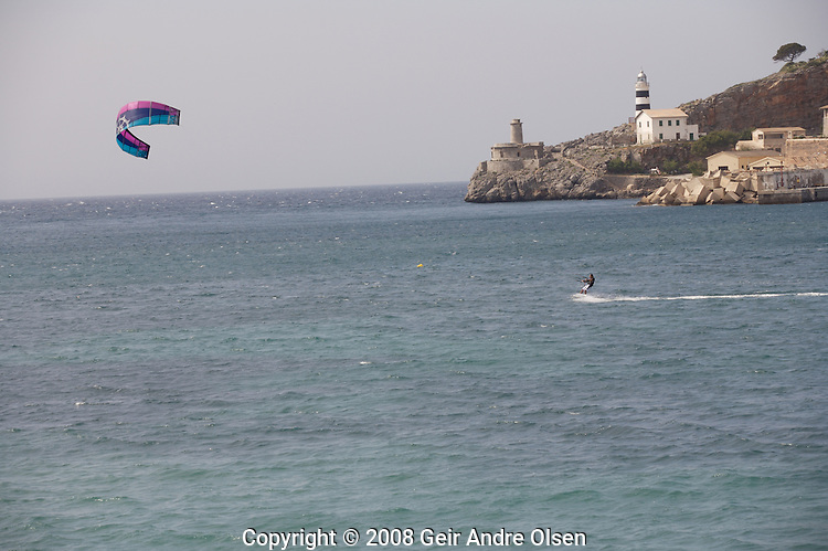 Kiteing at Port Soller at Majorca, Spain, strong winds