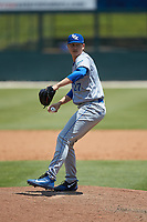 Lexington Legends relief pitcher Daniel James (27) in action against the Kannapolis Intimidators at Kannapolis Intimidators Stadium on May 15, 2019 in Kannapolis, North Carolina. The Legends defeated the Intimidators 4-2. (Brian Westerholt/Four Seam Images)
