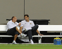 Craig Bellamy nd Stuart Taylor, inactive for the match, talk on bench during warm-ups. The 2010 Atlanta International Soccer Challenge was held, Wednesday, July 28, at the Georgia Dome, featuring a match between Club America and Manchester City. After regulation time ended 1-1, Manchester City was awarded the victory, winning 4-1, in penalty kicks.