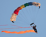 July 1, 2017- Arthur, IL- A skydiver turns as he prepares to land prior to the 2017 Arthur Fireworks celebration. [Photo: Douglas Cottle]