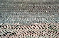 Siena:  Brickwork patterns--Piazza Del Campo.  Photo '83.