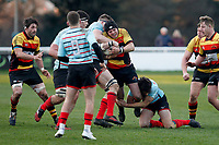 Toby Hassell of Richmond Rugby is tackled during the English National League match between Richmond and Blackheath  at Richmond Athletic Ground, Richmond, United Kingdom on 4 January 2020. Photo by Carlton Myrie.