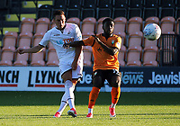 Pictured: (L-R) Connor Roberts of Swansea City takes a shot while challenged by Harry Taylor of Barnet Wednesday 12 July 2017<br /> Re: Pre-season friendly, Barnet v Swansea City FC at The Hive, London, UK