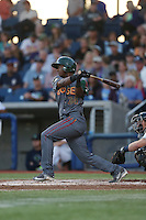 Nate Irving (18) of the Boise Hawks bats during a game against the Hillsboro Hops at Ron Tonkin Field on August 21, 2015 in Hillsboro, Oregon. Boise defeated Hillsboro, 7-1. (Larry Goren/Four Seam Images)