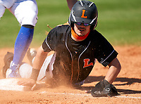Lakeland Dreadnaughts Rafeal Moreno (31) dives back into first base during a game against the IMG Academy Ascenders on February 20, 2021 at IMG Academy in Bradenton, Florida.  (Mike Janes/Four Seam Images)