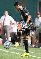 Cristian Castillo #12 of D.C. United controls the ball during an MLS match against the New York Red Bulls on May 1 2010, at RFK Stadium in Washington D.C.