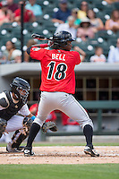 Josh Bell (18) of the Indianapolis Indians at bat against the Charlotte Knights at BB&T BallPark on June 19, 2016 in Charlotte, North Carolina.  The Indians defeated the Knights 6-3.  (Brian Westerholt/Four Seam Images)