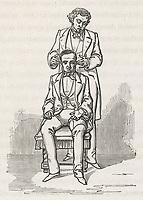 a magnetiseur heals an ear ailment / Baron Du Potet Therapeutique magnetique page 373 / 1863