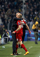 Calcio, andata degli ottavi di finale di Champions League: Juventus vs Bayern Monaco. Torino, Juventus Stadium, 23 febbraio 2016. <br /> Bayern's Arjen Robben, right, is hugged by coach Josep Guardiola after scoring during the Champions League first leg round of 16 football match between Juventus and Bayern at Turin's Juventus Stadium, 23 February 2016.<br /> UPDATE IMAGES PRESS/Isabella Bonotto