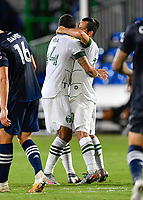 LAKE BUENA VISTA, FL - AUGUST 01: Sebastián Blanco #10 of the Portland Timbers celebrates his goal with Marvin Loría #44 of the Portland Timbers during a game between Portland Timbers and New York City FC at ESPN Wide World of Sports on August 01, 2020 in Lake Buena Vista, Florida.