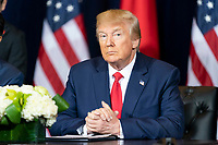 President Donald J. Trump participates in a trade agreement signing ceremony with Japan Prime Minister Shinzo Abe Wednesday, Sept. 25, 2019, at the InterContinental New York Barclay in New York City. (Official White House Photo by Shealah Craighead)