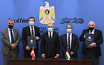Palestinian Prime Minister Mohammed Ishtayeh attends Signing a partnership agreement between Palestine and Denmark worth $72 million over five years, in the West Bank city of Ramallah on September 23, 2021. Photo by Prime Minister Office
