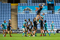 21st August 2020; Ricoh Arena, Coventry, West Midlands, England; English Gallagher Premiership Rugby, Wasps versus Worcester Warriors; Tim Cardall of Wasps jumps to catch the ball in a lineout