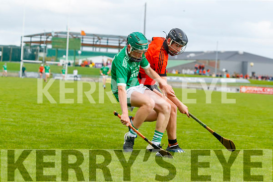 Anthony Kavanagh, Ballyduff, in action against Jimmy O'Halloran, Ballyheigue, during the Kerry County Minor Hurling Championship Final match between Ballyduff and Ballyheigue at Austin Stack Park in Tralee, Kerry.