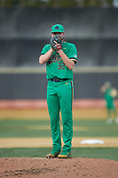 Notre Dame Fighting Irish starting pitcher Cameron Junker (32) looks to his catcher for the sign against the Wake Forest Demon Deacons at David F. Couch Ballpark on March 10, 2019 in  Winston-Salem, North Carolina. The Fighting Irish defeated the Demon Deacons 8-7 in 10 innings in game two of a double-header. (Brian Westerholt/Four Seam Images)
