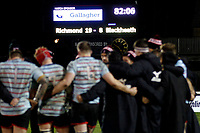 The final score is displayed as Blackheath Rugby debrief after the match during the English National League match between Richmond and Blackheath  at Richmond Athletic Ground, Richmond, United Kingdom on 4 January 2020. Photo by Carlton Myrie.