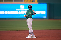 Beloit Snappers Lester Madden (14) celebrates after hitting a double during a Midwest League game against the Lansing Lugnuts at Cooley Law School Stadium on May 4, 2019 in Lansing, Michigan. Beloit defeated Lansing 2-1. (Zachary Lucy/Four Seam Images)