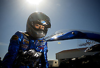 Mar. 12, 2011; Gainesville, FL, USA; NHRA pro stock motorcycle rider Angie Smith during qualifying for the Gatornationals at Gainesville Raceway. Mandatory Credit: Mark J. Rebilas-