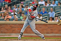 24 July 2012: Washington Nationals outfielder Roger Bernadina in action against the New York Mets at Citi Field in Flushing, NY. The Nationals defeated the Mets 5-2 to take the second game of their 3-game series. Mandatory Credit: Ed Wolfstein Photo