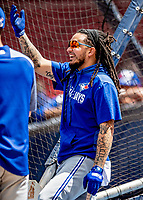 22 June 2019: Toronto Blue Jays shortstop Freddy Galvis awaits his turn in the batting cage prior to a game against the Boston Red Sox at Fenway :Park in Boston, MA. The Blue Jays rallied to defeat the Red Sox 8-7 in the 2nd game of their 3-game series. Mandatory Credit: Ed Wolfstein Photo *** RAW (NEF) Image File Available ***