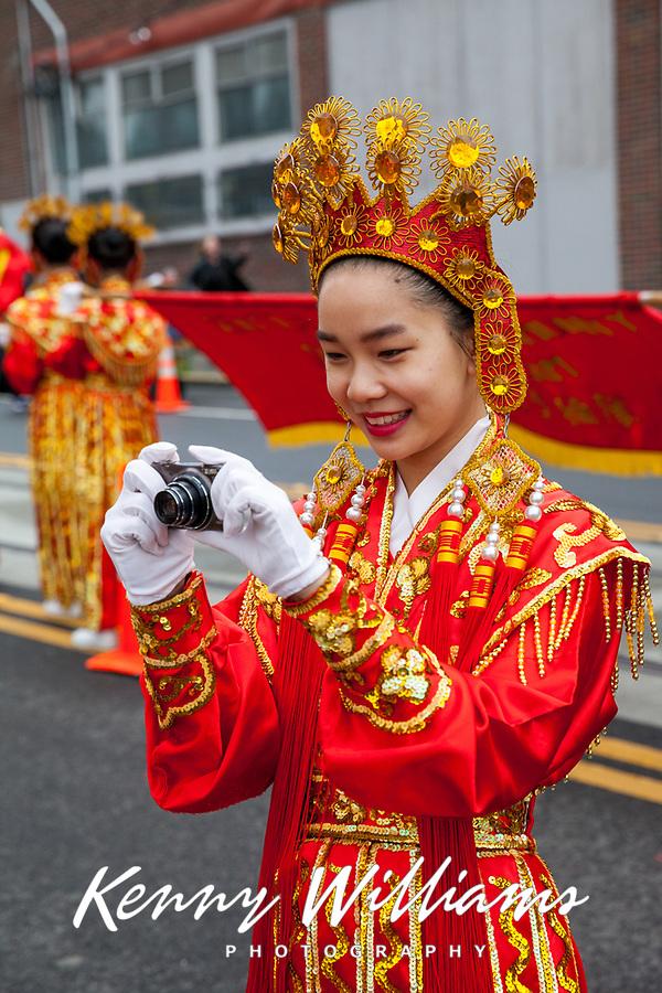 Chinese Girls Drill Team, Chinese New Year 2016, Chinatown, Seattle, WA, USA.