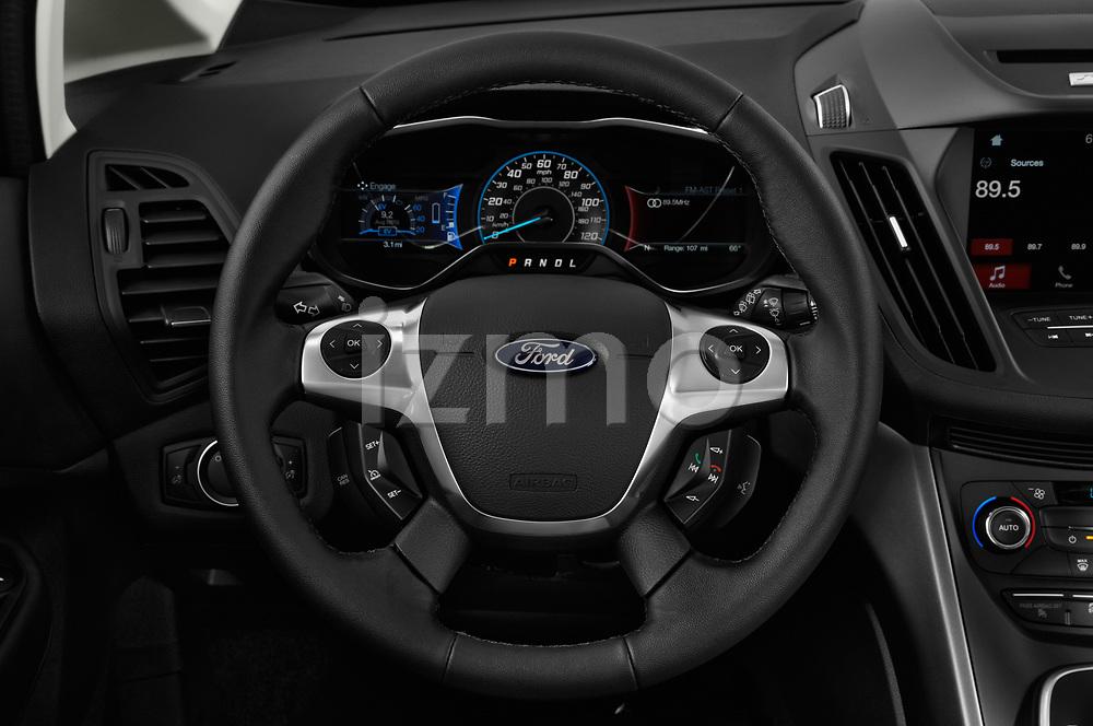 Car pictures of steering wheel view of a 2018 Ford C-Max PHEV SE 5 Door Mini Van