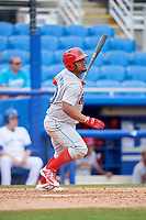 Clearwater Threshers designated hitter Wilson Garcia (10) follows through on a swing during a game against the Dunedin Blue Jays on April 8, 2018 at Dunedin Stadium in Dunedin, Florida.  Dunedin defeated Clearwater 4-3.  (Mike Janes/Four Seam Images)