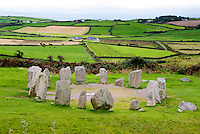 Drombeg Stone Circle, County Cork, Ireland, The Druid's Altar, Irish meadows and fields, farmhouse, animals, ocean sea, hedgerows, mysrterious Druid ruins, Recumbent stone circle near Glandore, Ireland's most famous stone circle, megalithic sites, National Monuments Site