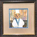 Untitled Chef<br /> Watercolor on Archival Paper<br /> 8x8 in a beautiful, unique professional frame<br /> <br /> $950