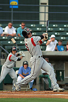 Carolina Mudcats outfielder Tyler Holt #6 at bat during the first game of a doubleheader against the Myrtle Beach Pelicans at Tickerreturn.com Field at Pelicans Ballpark on May 10, 2012 in Myrtle Beach, South Carolina. Myrtle Beach defeated Carolina by the score of 2-1. (Robert Gurganus/Four Seam Images)