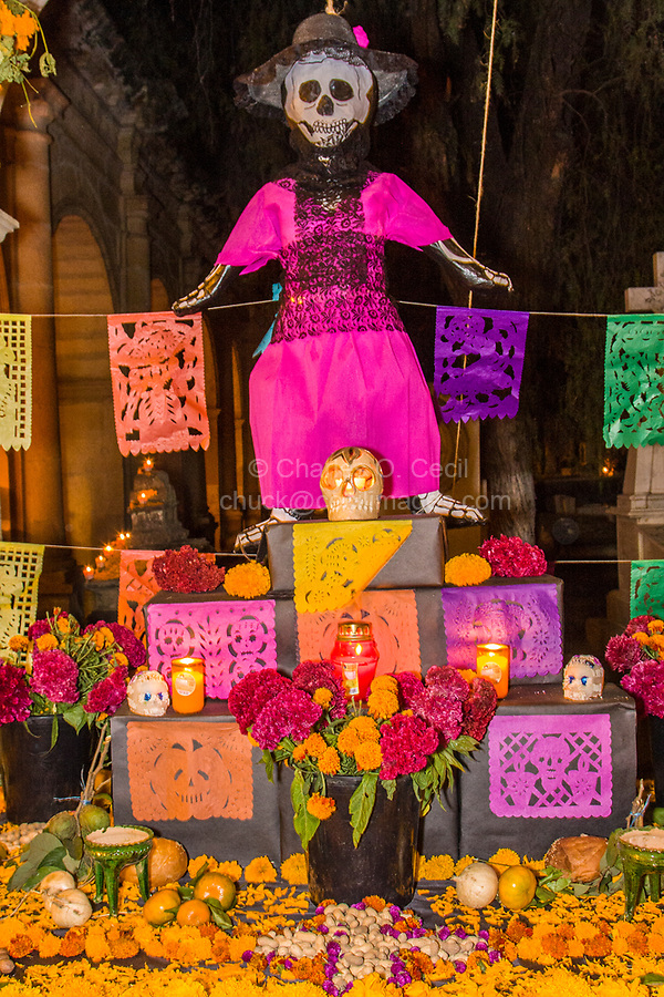 Oaxaca, Mexico, North America.  Day of the Dead Celebrations.  Altar Decorations, San Miguel Cemetery, Oaxaca.  Skeleton, Skull, Flowers, Marigolds, Candles, Fruit, peanuts, jicama, oranges.  Cemetery Decorations, Offerings, in Memory of the Dead.