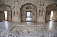 Agra, India.  Agra Fort, Musammam Burj Pavilion Interior.  Shah Jahan spent the last years of his life here, imprisoned by his son.