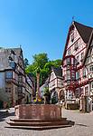 Germany, Bavaria, Lower Franconia, Miltenberg: half-timbered houses and market fountain at market square | Deutschland, Bayern, Franken (Unterfranken), Miltenberg: Fachwerkhaeuser und Marktbrunnen am Marktplatz (umgangssprachlich auch 'Schnatterloch' genannt)