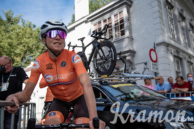 Annemiek van Vleuten (NED/Movistar) checking out the start ramp in Brugge<br /> <br /> Mixed Relay TTT <br /> Team Time Trial from Knokke-Heist to Bruges (44.5km)<br /> <br /> UCI Road World Championships - Flanders Belgium 2021<br /> <br /> ©kramon