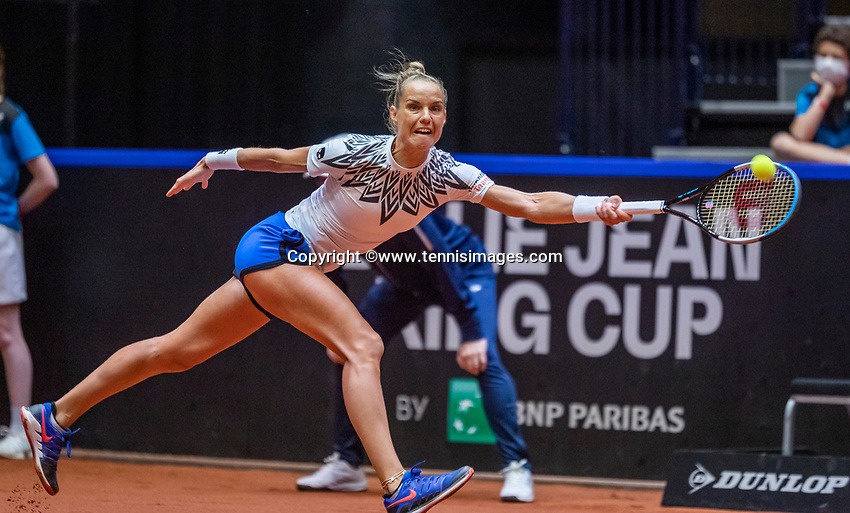 Den Bosch, The Netherlands, April 16, 2021,    Maaspoort, Billy Jean King Cup  Netherlands -  China , seccond day seccond match: Arantxta Rus (NED)  <br /> Photo: Tennisimages/Henk Koster