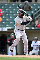 Louisville Bats third baseman Mike Costanzo (4) at bat during a game against the Rochester Red Wings on May 4, 2014 at Frontier Field in Rochester, New  York.  Rochester defeated Louisville 12-6.  (Mike Janes/Four Seam Images)