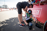 Gonzalo Serrano (ESP/Caja Rural - Seguros RGA) needing to sit down after finishing (probably due to a crash earlier in the race<br /> <br /> stage 10 (ITT): Jurançon to Pau (36.2km > in FRANCE)<br /> La Vuelta 2019<br /> <br /> ©kramon
